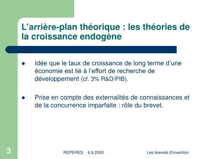 L'arrière-plan théorique : les théories de la croissance endogène