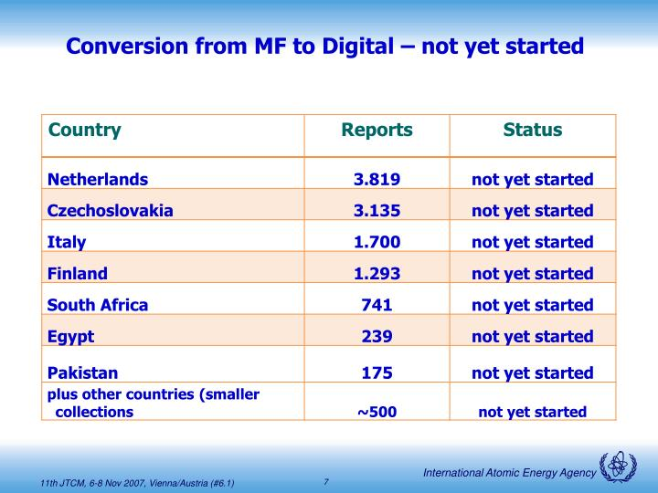 Conversion from MF to Digital – not yet started