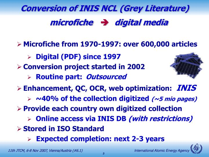 Conversion of INIS NCL (Grey Literature)