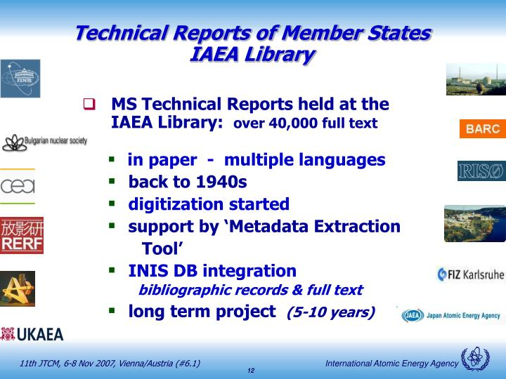 Technical Reports of Member States
