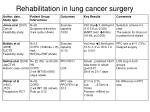 rehabilitation in lung cancer surgery