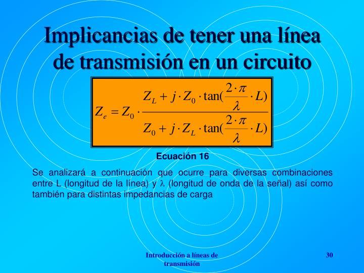 Implicancias de tener una línea de transmisión en un circuito