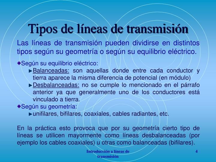 Tipos de líneas de transmisión