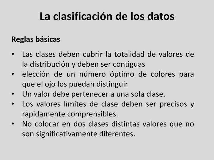 La clasificación de los datos
