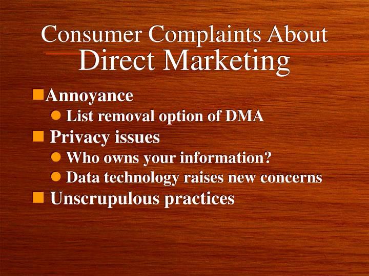 Consumer Complaints About
