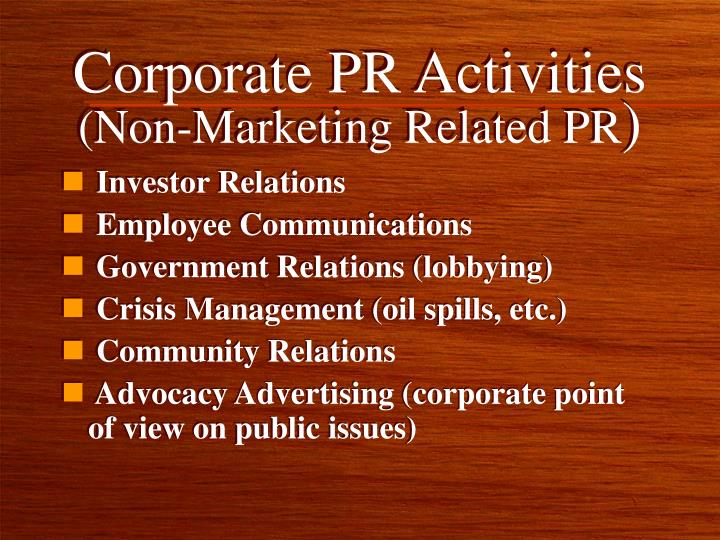 Corporate PR Activities
