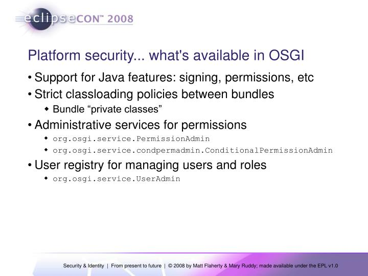 Platform security... what's available in OSGI