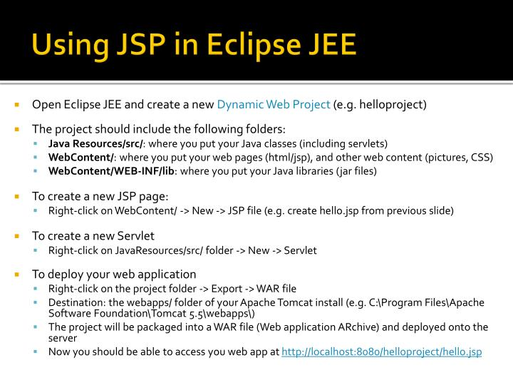 Using JSP in Eclipse JEE