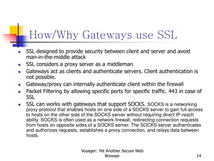 How/Why Gateways use SSL