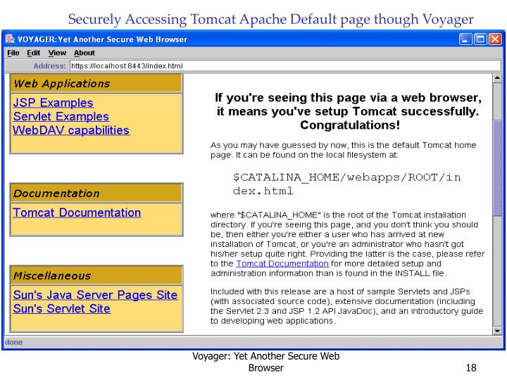 Securely Accessing Tomcat Apache Default page though Voyager