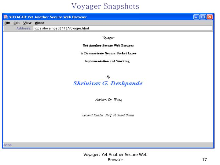 Voyager Snapshots