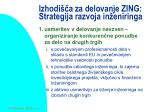 izhodi a za delovanje zing strategija razvoja in eniringa