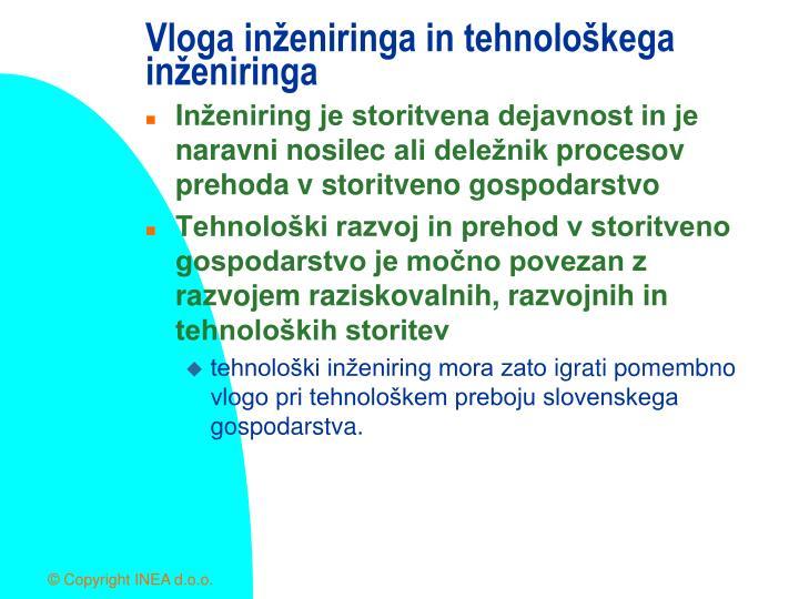 Vloga inženiringa in tehnološkega inženiringa