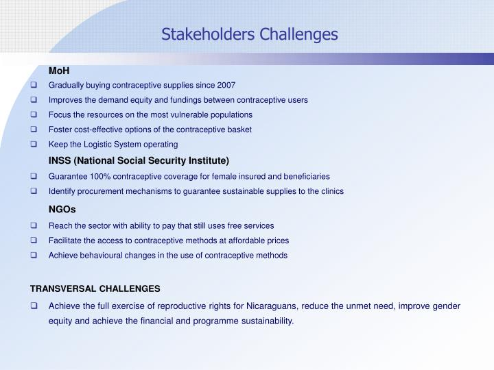 Stakeholders Challenges
