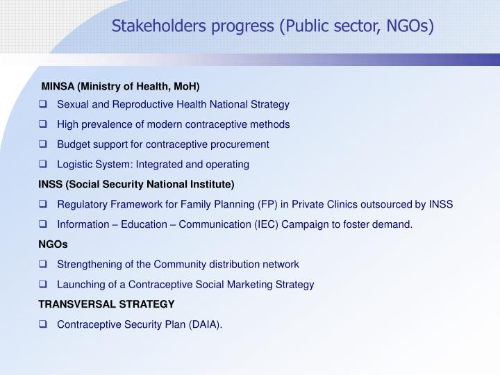 Stakeholders progress (Public sector, NGOs)