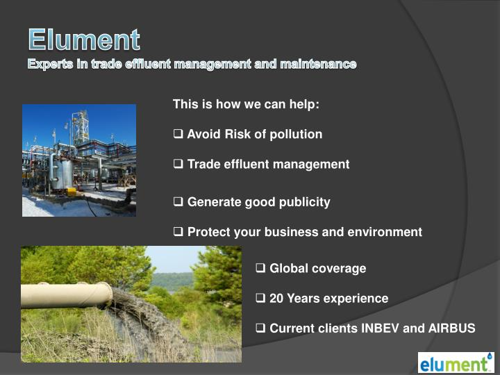 Elument experts in trade effluent management and maintenance