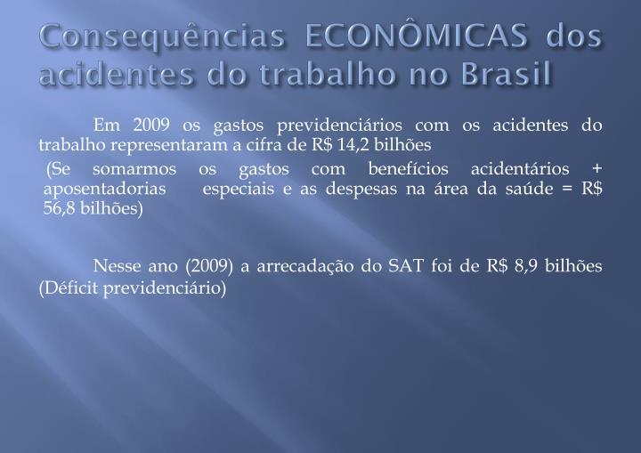 Consequências ECONÔMICAS dos acidentes do trabalho no Brasil