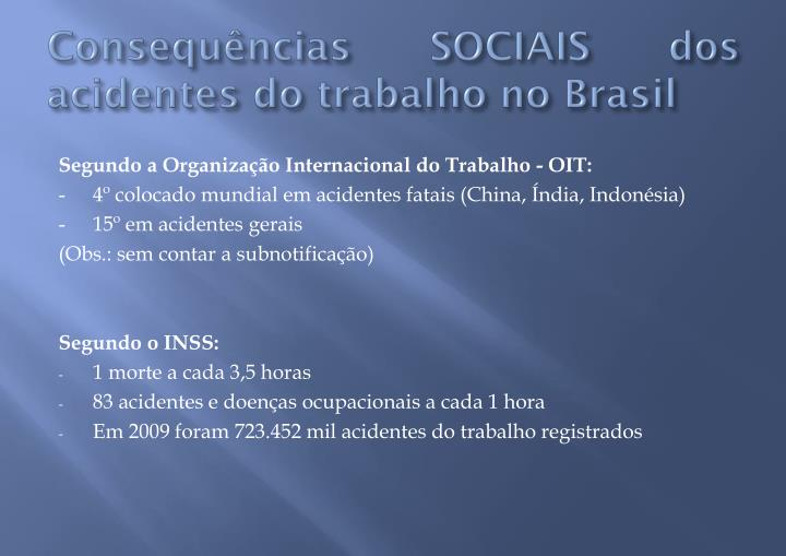 Consequências SOCIAIS dos acidentes do trabalho no Brasil