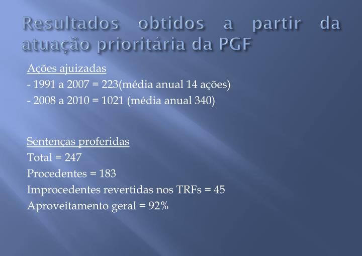 Resultados obtidos a partir da atuação prioritária da PGF