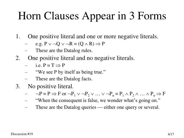 Horn Clauses Appear in 3 Forms