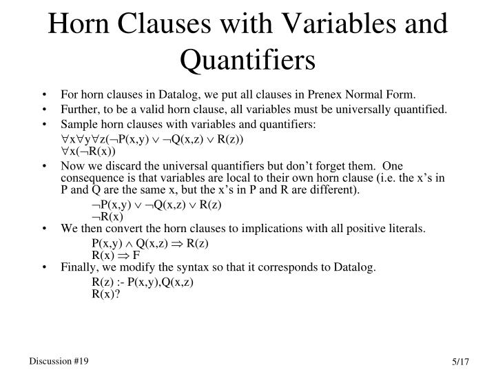 Horn Clauses with Variables and Quantifiers