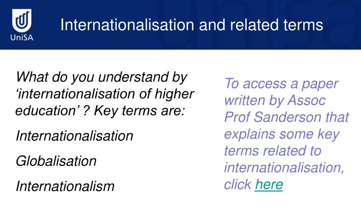 Internationalisation and related terms