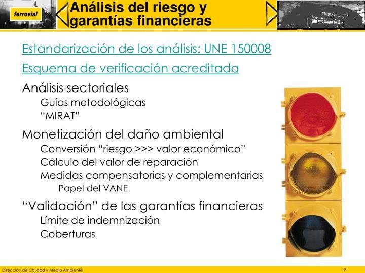 Análisis del riesgo y garantías financieras
