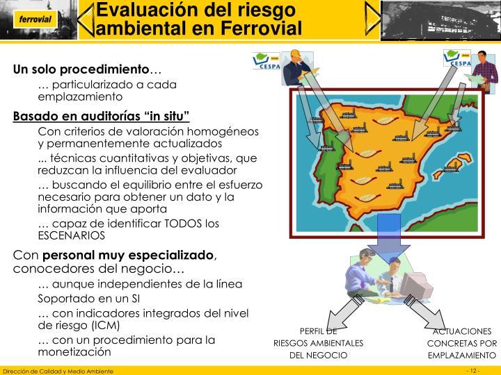 Evaluación del riesgo ambiental en Ferrovial