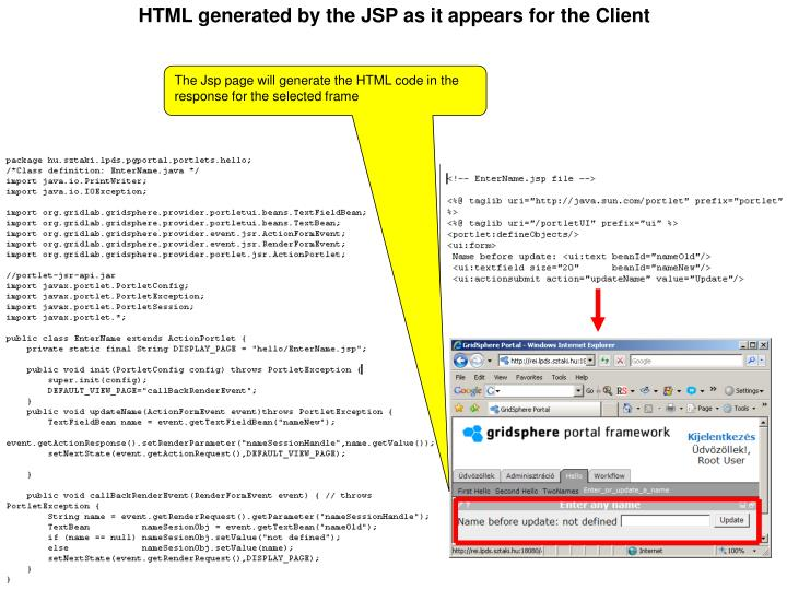 HTML generated by the JSP as it appears for the Client