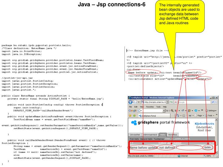 The internally generated bean objects are used to exchange data between Jsp defined HTML code and Java routines