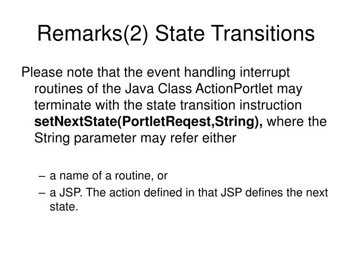 Remarks(2) State Transitions
