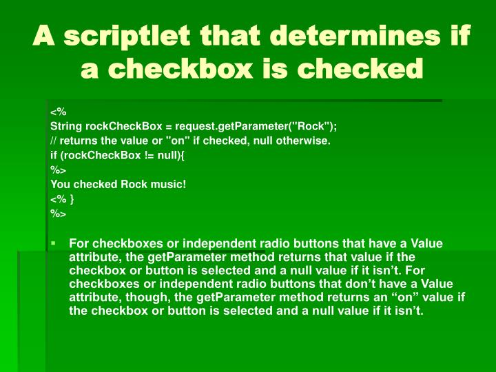 A scriptlet that determines if a checkbox is checked