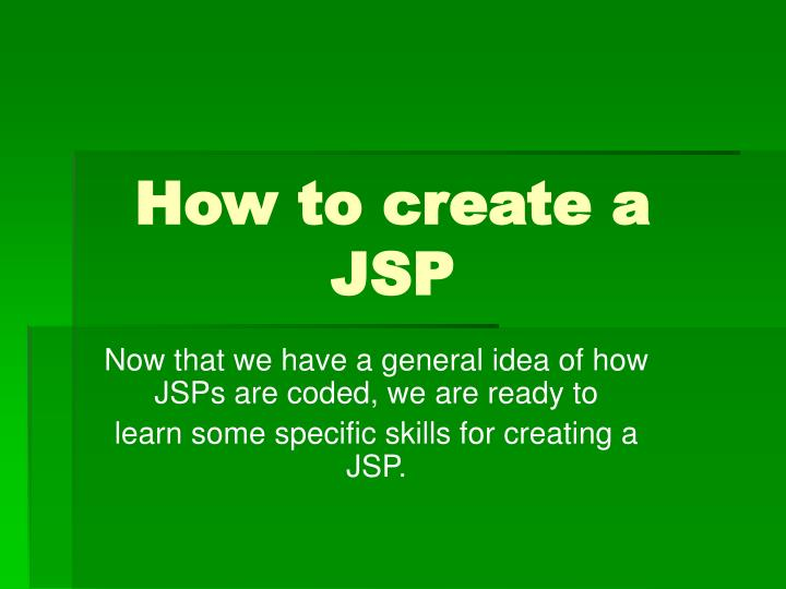 How to create a JSP