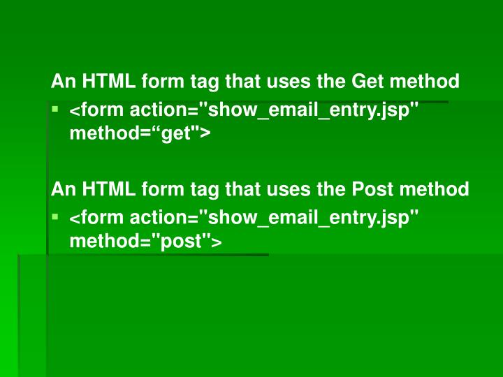 An HTML form tag that uses the Get method