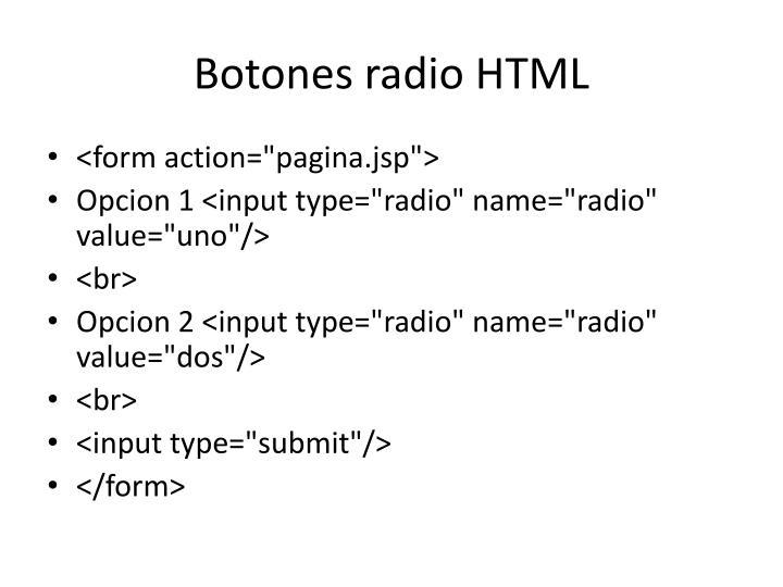 Botones radio HTML
