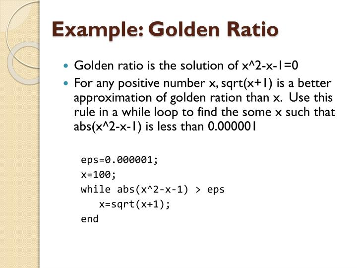 Example: Golden Ratio