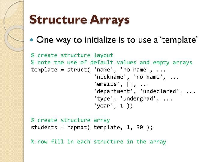 Structure Arrays