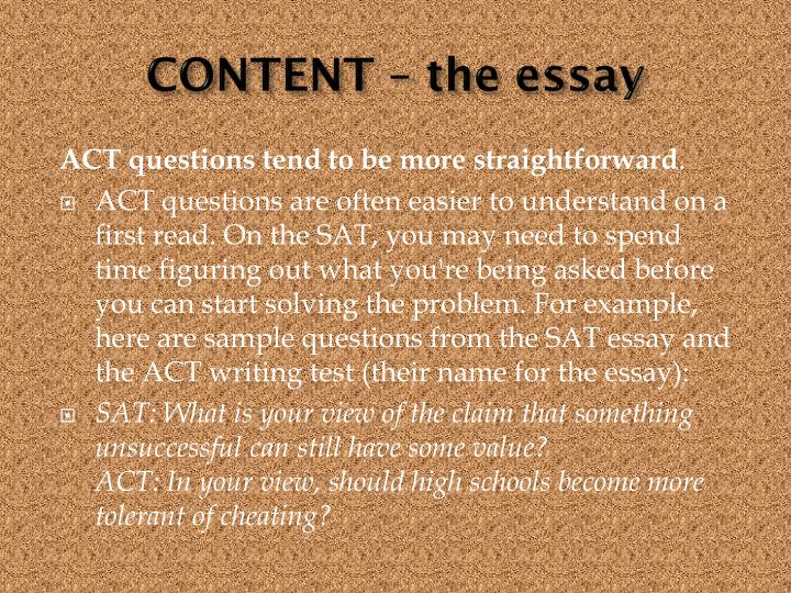 CONTENT – the essay