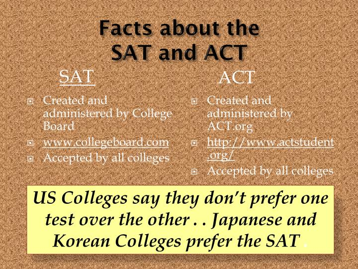 Facts about the sat and act