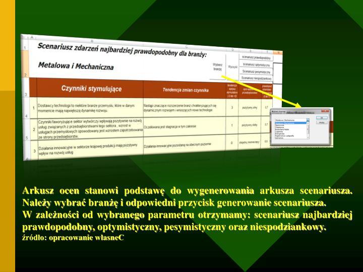 Arkusz ocen stanowi podstawę do wygenerowania arkusza scenariusza. Należy wybrać branżę i odpowiedni przycisk generowanie scenariusza.