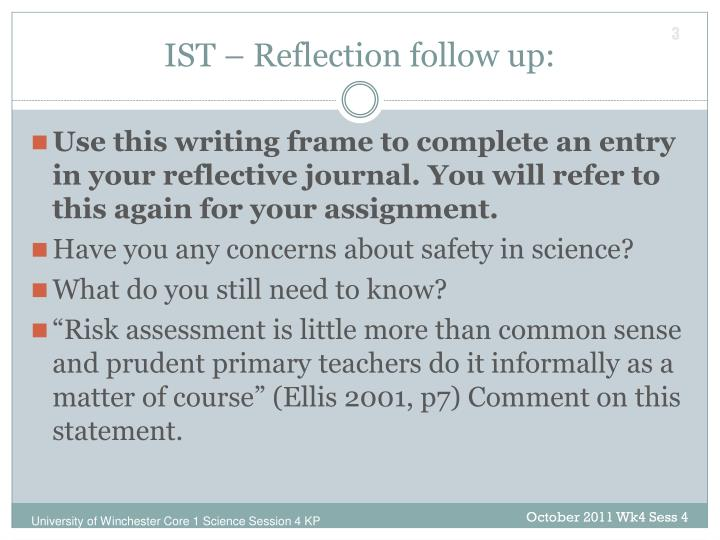 IST – Reflection follow up: