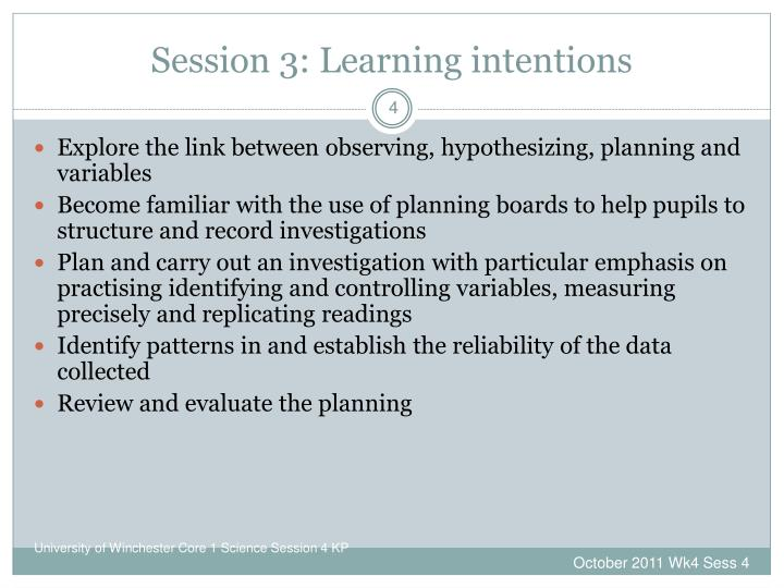 Session 3: Learning intentions