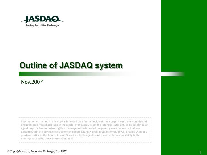 Outline of jasdaq system