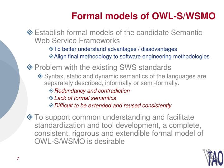 Formal models of OWL-S/WSMO