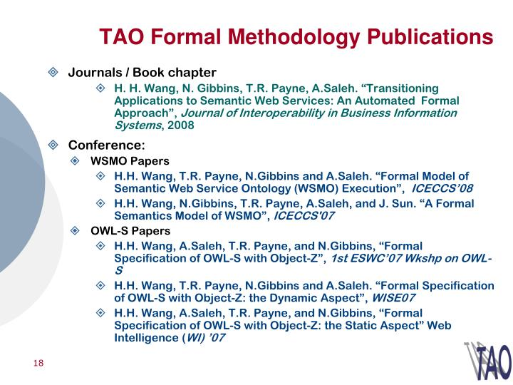 TAO Formal Methodology Publications