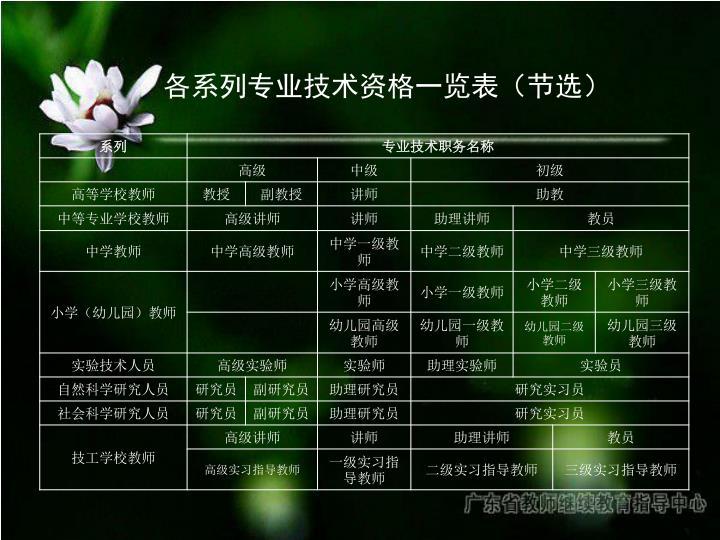 各系列专业技术资格一览表(节选)
