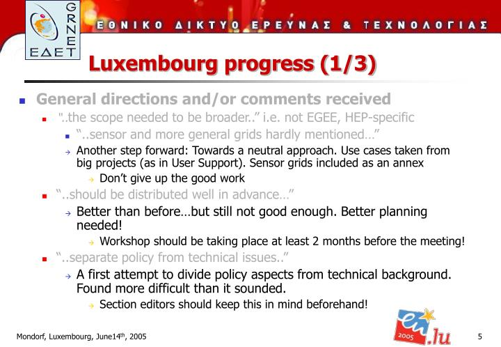 Luxembourg progress (1/3)
