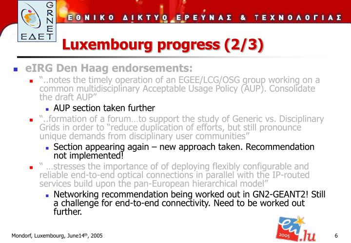 Luxembourg progress (2/3)