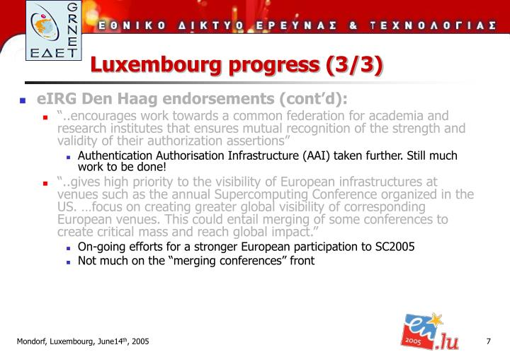 Luxembourg progress (3/3)