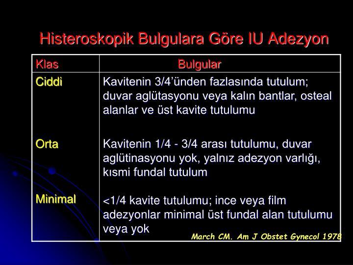 Histeroskopik Bulgulara Göre IU Adezyon